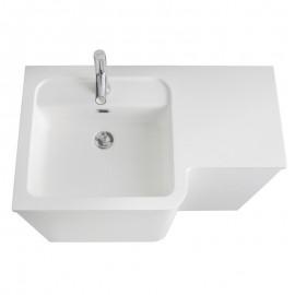 Sanijura Bump 80cm blanc brillant avec armoire de toilette