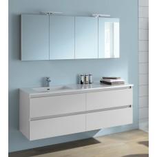 Sanijura Sobro 160cm blanc brillant avec armoire de pharmacie