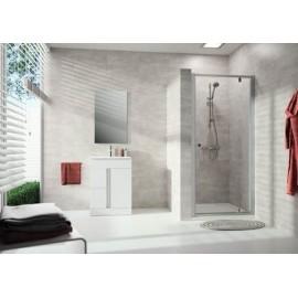 Porte de douche Alpha transparente avec montant blancs