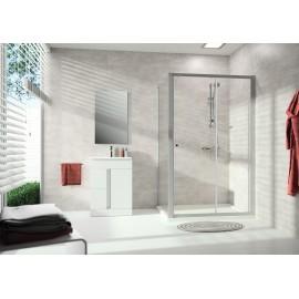Paroi fixe de douche Alpha transparente avec montant blancs