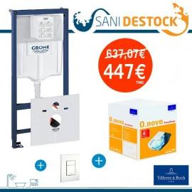Pack wc suspendu O.novo + bati support + plaque de commande