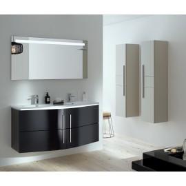 Sanijura soon 130cm noir avec colonne et armoire de toilette