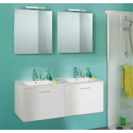 Sanijura Completino 120cm blanc brillant avec miroir et colonnes