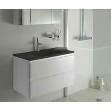Sanijura Halo 100cm blanc et vasque noir + miroir