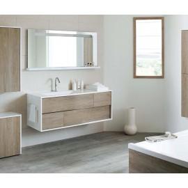 Sanijura My Lodge 140 blanc brillant/chêne Quebec avec miroir
