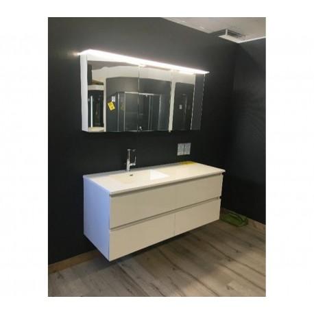 Sanijura Sobro 140cm blanc brillant + armoire de toilette