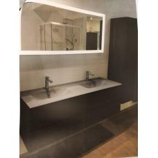 Sanijura Halo 140cm gris anthracite mat avec miroir et colonne