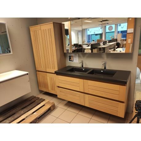 Sanijura Lignum 140cm + armoire de toilette + double colonne